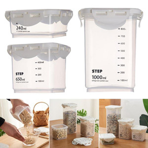 Plastic Sealed Kitchen Storage Box Transparent Canister Keep Fresh Jar Bottles with scales