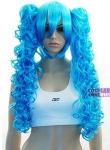 ENVÍO GRATIS ++ + Sky Blue 0.6m Cosplay Peluca + Clipon Long Curly Ponytail
