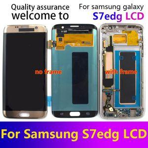 Frame sayesinde Samsung Galaxy S7 Kenar Ekran Super AMOLED S7 Kenar G935 G935A G935F SM-G935F LCD Ekran Dokunmatik Sayısallaştırıcı Meclisi için