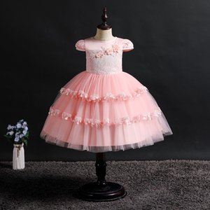 Girls Princess Baby Bow Tutu Dresses 2019 Teenager Girl New Years Eveing Wedding Party Dress 2-8yrs Kids Childern Vestidos Clothes