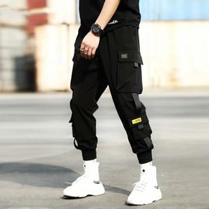 Мужские брюки ленты грузовые мужчины повседневная уличная одежда Harajuku хип-хоп модный молодежь тонкие стильные промежуточные брюки