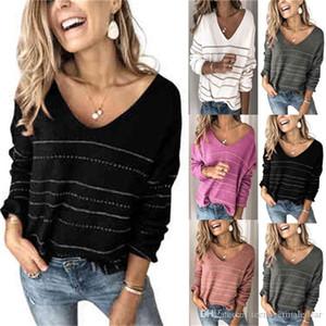 스트라이프 여성 디자이너 스웨터 가을과 겨울 캐주얼 느슨한 긴 소매 V 넥 풀오버 얇은 스웨터 패션 여자 스웨터