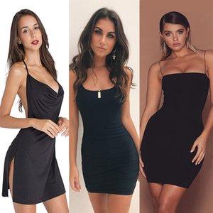 CDJLFH Frauen Kleider der neuen Ankunfts-2019 Sleeveless Bodycon Backless Solid Color Kleid lose dünne Pendler beiläufige trägerloses Kleid