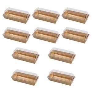플라스틱 투명 뚜껑과 박스 포장 10PCS 직사각형 크래프트 종이 샌드위치 포장 상자 케이크 빵 간식 베이커리
