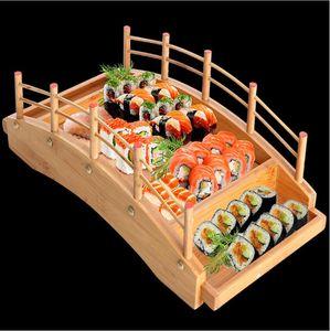 New Japanese wooden wood Cuisine Sushi Bridge Boats Pine Creative Sushi Sashimi plate Platter Sushi Tableware Decoration Ornament