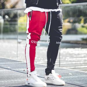 MOMO abril 2019 pantalones de los hombres del basculador remiendo gimnasios de fitness culturismo gimnasios Hombres Pantalones corredores Ropa pantalón Pantalón Hombre LY191129