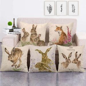 Bebek Hayvan Partisi Fox Tavşan Yastık Örtüleri El Yastık Kapak Keten Yastık Kılıfı Paskalya Dekorasyon RRA2685 atmak Hayvanlar Boyama
