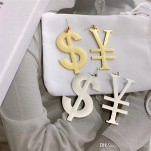 2020 Europe and America foreign trade jewelry ins hip hop dollar money metal exaggerated personality asymmetric 925 silver pin earrings earr