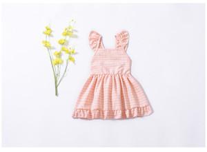 INS Girl Abbigliamento per bambini Summer Girl Pink Plaid and Yellow Flowers Design Abito senza maniche di alta qualità 100% cotone baby Princess dress