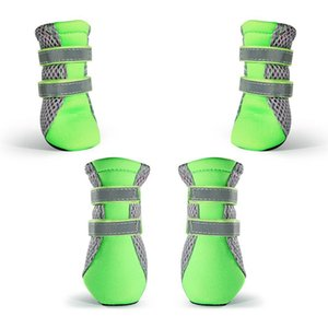 Puppy Dog Boots Daily Soft Sole Dog Shoes Nonslip Mesh Dogs paws Protector with 2 Long and Safe Reflective Straps L green