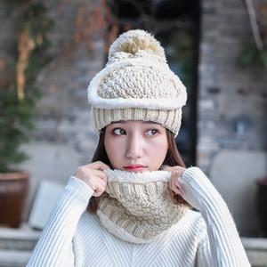 Vente en gros Les femmes d'hiver plus chaud trois pièces Ensemble masque Chapeau et écharpe d'hiver Tricoté plus velours chaud Masque Chapeau et écharpe DH0506 T03