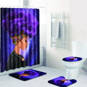 패션 아프리카 여자 창조적 인 예술 디지털 인쇄 욕실 샤워 커튼 화장실 비 슬립 매트 카펫 4 조각 세트
