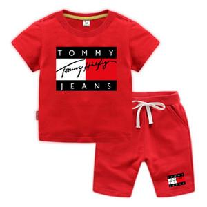 2-8 años ropa de niño para niños conjunto de calidad niñas de manga corta de algodón ropa de bebé cuerpo de la carta de los cabritos impresas ropa de niño fijan rojo negro