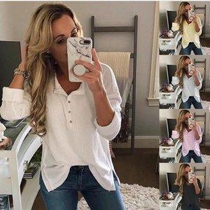 Женский Pure Color Tshirt Модельер Стенд Воротник с кнопкой Tshirt Весна Повседневная женщин с длинным рукавом Одежда