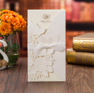 2020 New Luxury Love Heart Wedding Invitation Cards Personalized Laser Cut Flower Invites with Bow Knot Ribbon