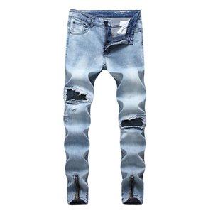 Pop2019 European Jeans Man Tendance Aux Genoux Fermeture Éclair Pieds Trous Trous Pantalon Cowboy