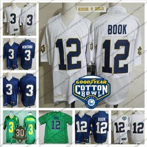 2019 UND College Football # 12 Ian Book Branco Cotton Bowl Jersey Azul marinho NCAA # 3 Joe Montana Kelly Green Vintage 1977 Campeões