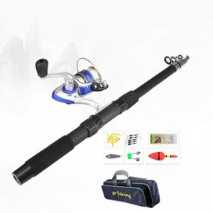 Telescópico Fishing Rod Combo E Reel Combo 2.1M Pesca Rod Spinning Reel Linha iscas de gancho Pólo Pesqueiro Set