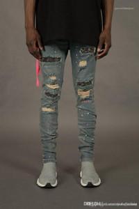 Fori moda e strass Ornamento pantaloni della matita Homme con Cerniera Luce Lavato pantaloni progettista del Mens Jeans