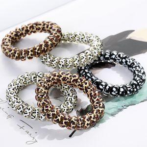 Frauen Mädchen Telefon Drahtseil Gummi Spule Haargummis Mädchen Elastische Haarbänder Ring Seil Leopardenmuster Armband Stretchy Haar Seile