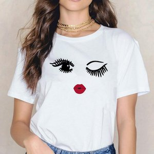 Camisetas de verano para mujer de diseño T Camisetas Tshirts Tshirts LIPS LIPS HECHO LIPS RED PESTURA CORTE CORTE CORTE ROPA DE MUJERES T Blusa en la camiseta C Eulf