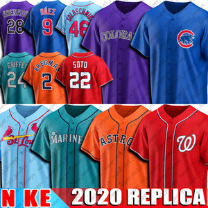 2 Alex Bregman Jersey 22 Juan Soto jerseys 24 Ken Griffey Jr Jersey 9 Javier Baez 46 Paul Goldschmidt 28 Nolan Arenado jerseys del béisbol de 2020