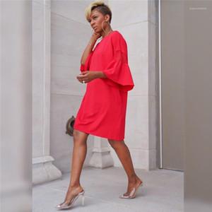 Robe Designer Flare manches en dentelle lambrissé Donna Robes Sweet Ladies Robes simples Femmes Mode d'été