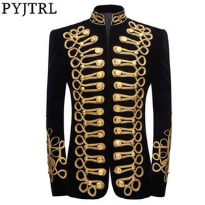 PYJTRL Erkek Artı boyutu handmake Siyah Altın Nakış Kadife Blazer DJ Şarkıcılar Nightclub Kostüm Şık Ceket Sahne Giyer