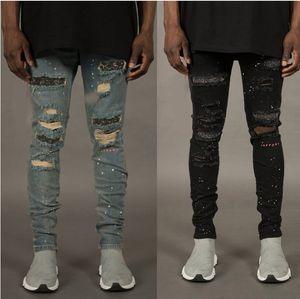 Otoño Jeans de moda para hombres con agujeros Broken diseño Cremalleras Vaqueros skate Lápiz Pantalones vaqueros del motorista