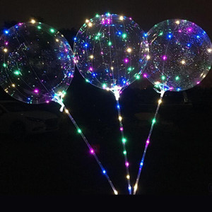 Bobo Balloon LED Flashing with 70cm Pole 3M String Balloon Transparent Luminous Lighting Up Balloons For Brithday Wedding Home Party Decor