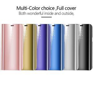 Lusso ultra-sottile specchio intelligente vista vibrazione del supporto del raccoglitore del basamento del telefono della copertura della cassa del telefono Shell per Samsung Galaxy S6 bordo S7 S8 S9 Plus Nota 8