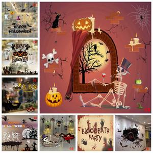 2ST Halloween-Fenster-Aufkleber-Kürbis-Schädel-Schläger Glastür Aufkleber Bar Hotel Mall Wohnzimmer-Wand-Aufkleber-Abziehbild-Ausgangsdekoration DBC VT0968