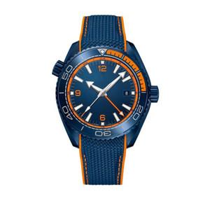 Мужской автоматический механические часы 46MM синего циферблат керамического Вращающегося безель GMT Hand Сапфир Зеркало Nylon Belt Складной Застежка Мужчина спортивных часы