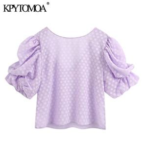 KPYTOMOA Donne 2020 Moda Tessuto strutturato Camicette Vintage O Collo Del Manicotto di soffio Backless Camicie Femminili Blusas Chic top