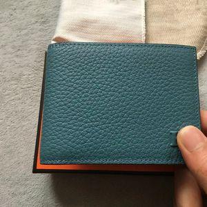 Best Sales Men Wallet Mode Plain Echtes Leder-Kurzschluss-Geldbeutel, Männer Luxuriöse Geldbörse für Kreditkarten mit Staubbeutel-Box