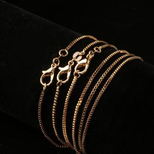 20 PCS Cadena de la caja de moda 18k Cadenas de oro chapado en oro Puro 925 Collar de plata Cadenas Largas Joyería para niños Boy Girls Mujeres para hombre 1mm 2020