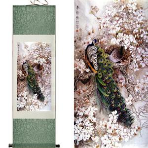 Günstige Peacock Silk Painting Scroll Wohnzimmer dekorative Malerei