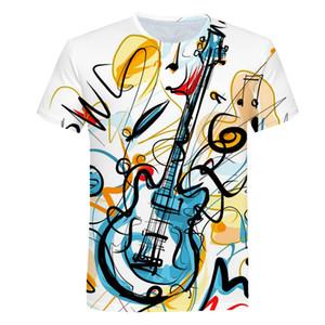 Notes de musique drôle T-shirt imprimé Hommes / Femmes d'été Musique manches courtes T-shirts homme Hauts Casual Marque T-shirt Homme PINSHUN