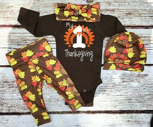 UK 4Pcs Toddler Baby Boys Girls Thanksgiving Romper Pants Hat Outfit Clothes Set