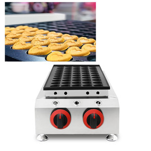Commercial Gas heart shape poffertjes maker machine Dutch mini pancakes grill 50 Holes puffle waffle baker iron making oven pan plate