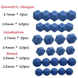 brunnera blue Silicone Beads Teether Set Hexagon Round Icosahedron 50pcs DIY Food Grade Beads Necklace Bracelet Accessories Making