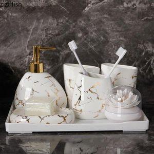 6 / 7pcs Set oro Mármol Cerámica accesorios de baño Conjunto dispensador de jabón / cepillo de dientes titular / vaso / plato de jabón Productos de baño