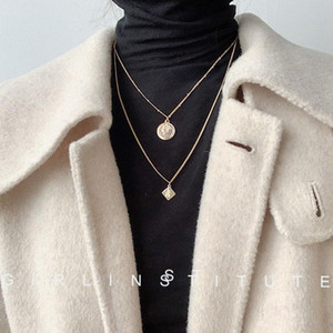 Autumn and Winter Retro Gold Coin Necklace Womens 2019 New Net Red All-match Simple Long Coin Sweater Chain Tide