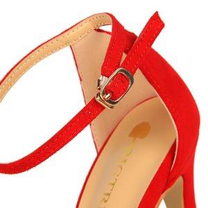 2020 Women Summer Low Heels Flock Sandals Fetish 8cm 11cm High Heels Gladiator Stiletto Stripper Classic Sandles Red Prom Shoes