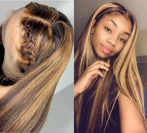 Celebrity Lace Front Wigs Two Tone Ombre Highlight Straight 10A Malaysian Virgin Human Hair Full Lace Wigs for Black Woman Express Shipping