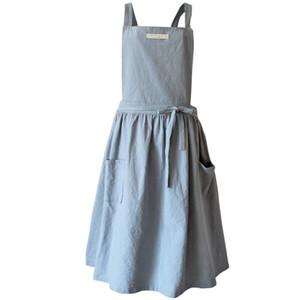 Breve nórdica de viento plisado falda de algodón de lino Delantal cafés bar y Florerías trabajo de limpieza delantal para mujer Accesorios de Cocina
