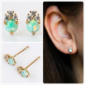 Empfindliche Feuer-Opal-Ohrringe für Frauen Hochzeit Blumen-Ohrringe Partei Australien Edelstein-Stein-Ohrring-Mädchen-Geschenk-Zircon Aretes R5