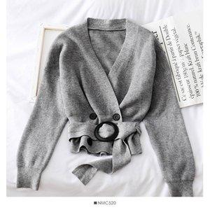 Heliar 2019 Autunno a righe Gully maglione pianura solido slaccia più Cardigan Croce Trim casual O Collo Maglione Highstreet