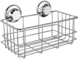 Suction Shower Caddy, Deep Bathroom Basket Suction Cup Large Shower Caddy Bath Organizer Kitchen Storage Basket for Gel Holder Bathroom Stor