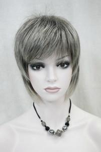 Парик Мода Темно-коричневый Светло-серый Смешанные Женские женские Повседневные волосы Пушистый парик Uk-S099 Hivision